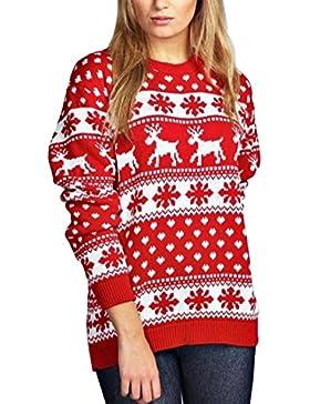 Huixin Mujeres Jerséis De Punto para Navidad Invierno Reno Copo De Nieve Pullover Jerseys Elegantes Unisex Cálido...