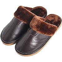 BESTOYARD Zapatillas de Cuero de Invierno Forro de Piel Forro de Felpa Mules Zapatilla Pareja Casa Zapatillas de algodón para Interiores (Marrón Oscuro)