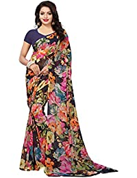 Kanchnar Women's Navy Blue Georgette Printed Saree With Unstitched Blouse - 782S211