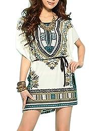 Vestidos Playa Mujer Verano Playa Fiesta Casual Estampado Floral Étnico Vestido Boho Chic Blusa Mangas Corta – Landove