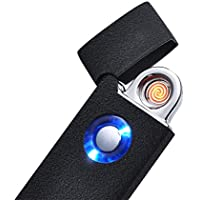 Mini USB Rechargeable Clamshell Lighter Flameless Windproof Cigarette Lighter With USB Charging Cable and Gift Box (Black)