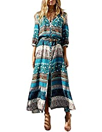 KE1AIP Womens Boho V Neck Floral 3/4 manches Side Slip Tie-taille manches longues Floral Maxi Robe longue