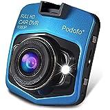 Podofo Registratore di guida, videocamera Dashcam Mini GT300A8per auto, video DVR full HD 1080P, funzione di visione notturna, obiettivo grandangolare, colore: blu
