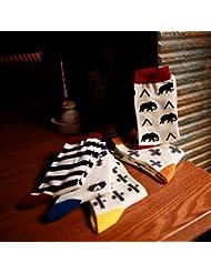 XIU*RONG Central De Hombres Calcetines Medias De Algodón Desodorantehuang Jin Toubare Socks (10 Pares)