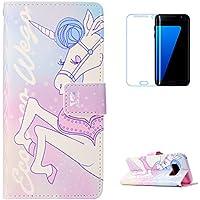 KaseHom Galaxy S8 Plus + [Protector de pantalla] Dibujos animados Estuche billetera de cuero Folio con ranuras para tarjetas y Cubierta Flip magnética Slim Anti-Arañazos Case - Unicornio