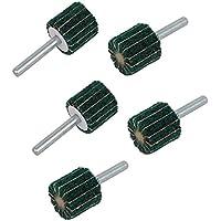Portal Cool 6mm Schaft 25mm Dia Zylindrischen Kopf Nylon Fiber Abrasive Flap Rad Grün 5 stücke