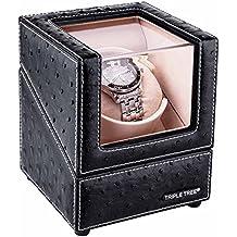 Estuche bobinadora para relojes de soltero,cargador para relojes automáticos,almohada de felpa flexible,carcasa de madera y cuero negro,motor japonés,configuración 4 modos rotación