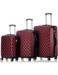 Ruedas gemelas 2066rígida Maleta Equipaje de viaje Maleta viaje para M de l de XL de Juego en 12colores, borgoña