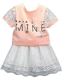 Jeansian Chicas Encaje Short Sleeve Trajes T_shirt Tee Top + Lace Falda 2PCS Set Children Verano 2 Piece Ropa Suit CHG069