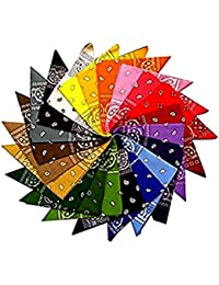 Set Of 12 Paisley Bandana's - 12 Colours, 100% Cotton