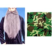 "Duck Hunter 18"" Grey Beard Moustache & Camouflage Costume Set"