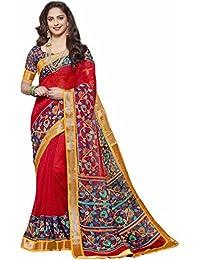 Miraan Women's Linen Saree With Blouse Piece (Srh842_Red)