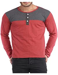 Light Red-light Grey Henley Men Tshirt
