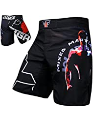 Warrior MMA Fight Pantalones Short Muay Thai Kickboxing UFC Entrenamiento para deportes de lucha Fox-Fight – , color negro, tamaño small