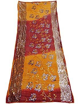 India Étnica Dupatta Georgette Tela De La Gasa Mujeres Diseñador Mantón Marrón Bollywood Vendimia Larga Estola