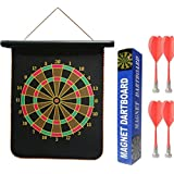 NSinc High Quality Big Size Foldable Magnetic Dart Game With 4 Assorted Colours Non-Pointed Magnetic Darts, Double Faced Portable, Strong And Powerful Magnets, Solid Darts, 12 Inches Big Size
