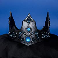 Regalia corona re regina fantasy per matrimonio, costumi e larp colore blu e nero metallico