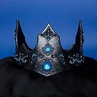 Regalia corona re regina fantasy per matrimonio, costumi e larp colore blu e nero metallico