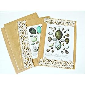Unikate handmade Karten 'Eier' Set 2 Stück mit Umschlag Grußkarten