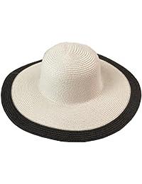 HONEY Cappello Di Paglia Da Donna Classico Bianco E Nero Mare Vacanza Viaggio  Cappello Da Sole 0fac9593c10b