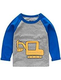 CHIC-CHIC Haut Pull-over Sweat-shirt Longue Manche Col Rond Bébé Fills Garçon T-shirt Top Imprimé Casual Mignon Souple
