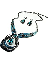 Asma Blue Green Big Gem Crystal Statement Necklace Green Bead Punk Collar Choker Necklace Set With Earrings For...
