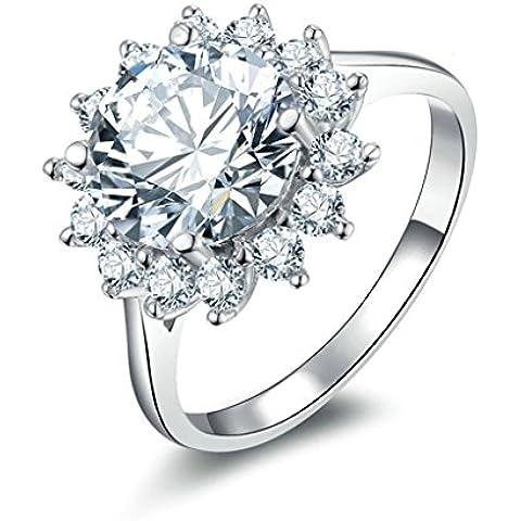 (Personalizzati Anelli)Adisaer Anelli Donna Argento 925 Anello Fidanzamento Incisione Gratuita Hemp Fiori Anello Diamante - Nonna Bracciale Perle D'argento Bracciale Perle