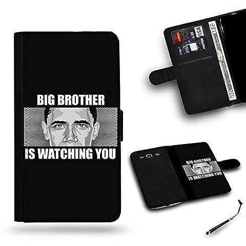 Per Cellulare Negozio//Slot Cover Custodia a portafoglio in pelle Custodia protettiva per Samsung Galaxy S5I9600Samsung S5//Barack Obama è grande fratello ti