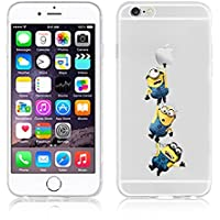 New Disney trasparente Cartoons character Minnions and others trasparente in poliuretano termoplastico per iPhone-Cover per Apple iPhone 5, 5S, 5C, 6/6S, 7 plastica, (iphone 7/iphone 8, 3 Minions)