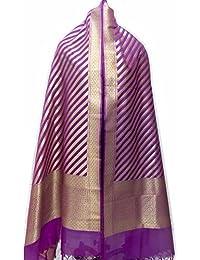 Asavari Magenta Banarasi Handloom Dupatta With Cross Zari Weaves