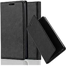 Cadorabo - Funda Book Style Cuero Sintético en Diseño Libro Sony Xperia Z1 COMPACT / MINI - Etui Case Cover Carcasa Caja Protección con Imán Invisible en NEGRO-ANTRACITA