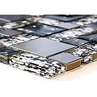 Piastrelle Mosaico Vetro Mosaico bagno mosaico piastrelle Nero pietra in vetro Mix 8mm nuovo # 466 - Mix Piastrelle
