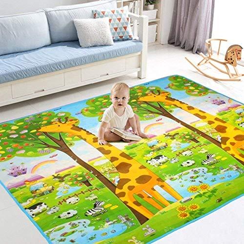 *BigTree Krabbeldecke Groß Spieldecke Baby Spielmatte Spielteppich, Hautfreundlich und Anti-Rutsch, Babyschleichenmatte Schaumstoffmatte 200 x 180 cm für Baby- und Kinderzimmer (Giraffe/Alphabet)*