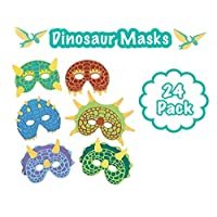 (24) Foam Dinosaur Masks for Kids Themed Party - Great for Party Favors - Dinosaur Theme Decorations and Hats- Masquerade and Halloween Masks - Soft and Comfortable for Everyone!