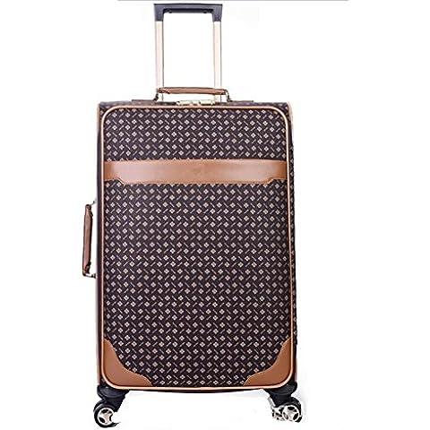 Bolso de la manera de la PU de la rueda universal equipaje maletas de viaje , brown , 20 inch