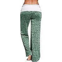 Hukangyu1231 Pantalones de Yoga de Bolsillo de Cintura Alta. Ej Pantalones de Yoga Womens Comfy Wide Leg Palazzo Pantalones de Cintura Alta Foldover Pantalones de salón Sueltos Ocasionales