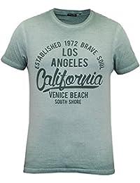 T-shirt Pour Hommes Brave Soul Épuisement Manches Courtes Col Rond Californie Los Angeles