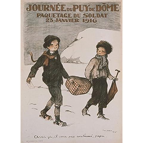 Vintage Francese Ww11914–18–Propaganda Puy de Dome Giorno, 23gennaio 1916250gsm Lucido Art poster A3di riproduzione
