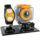 HP AC-200w Caméra Full HD 1080p Wi-Fi 5 Mpix avec Bracelet télécommande + Caisson étanche 60 m Noir
