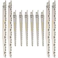 Juego de 10hojas de sierra de sable recíproca Saxton para madera, compatible con Bosch, DeWalt y Makita (RPR10MXC)