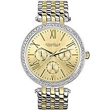Caravelle New York 45N100 - Reloj analógico de cuarzo para mujeres, correa de acero inoxidable, color plateado y dorado
