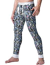Yefree Pantalones térmicos para Hombres Pantalones cálidos Mallas elásticas Leggings algodón Grafiti Impresos Pantalones Largos Hombres de Dibujos Animados de Invierno Calzoncillos cálidos