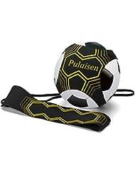 Pulaisen Hands Free Kick Solo de ballon de football d'entraînement pour enfants et adultes avec ceinture élastique Corde Compatible avec boule Taille 3, 4, et 5