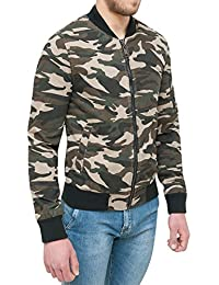 AK collezioni Giubbotto Giacca Uomo Militare Mimetico Slim Fit Giubbino  Casual in Cotone 3605fb0922f