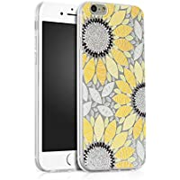 Funda iPhone 6S Plus, Carcasa iPhone 6 Plus, JAWSEU iPhone 6/6S Plus 5.5 Carcasa Caso Cover Creativa Diseño de Girasol Ultra Delgado Brillante Crystal Clear Transparente Suave TPU Silicona Carcasa Estuche para iPhone 6 Plus/6S Plus Protectivo Parachoques Shell Brillo Cubierta Tapa Trasera Funda para Apple iPhone 6 Plus/6S Plus - Amarillo de girasol