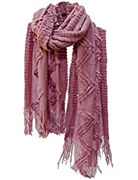 Textured Knit Scarf Stole Shawl Wrap With Fringe Pink