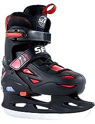 SFR Eclipse Adjustable Light Up Youth Ice Skates -Size Junior 8 - UK 6 - Black