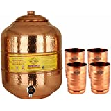 Taluka Copper Matka Water Pot Pitcher Pot Water Tank Volume 12000 ML With 4 Copper Glass 300 ML For Water Drinking And Storing Purposes Healthy Habits Ayurvedic Benefits Weight :- 2200 Grams