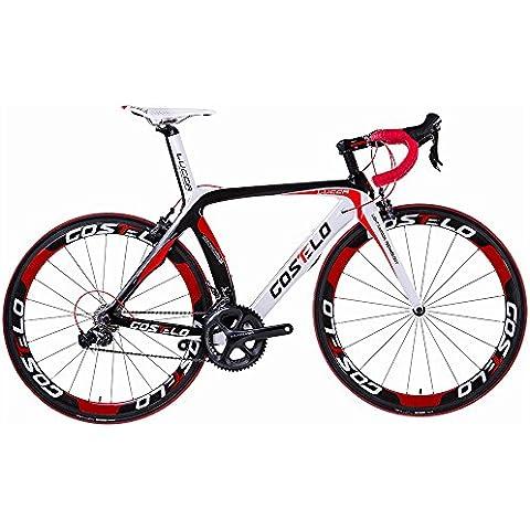 Costelo Lucca carbonio per bici da strada completo SHIMANO sora 3500gruppo cornice in carbonio Ruote, Red, S