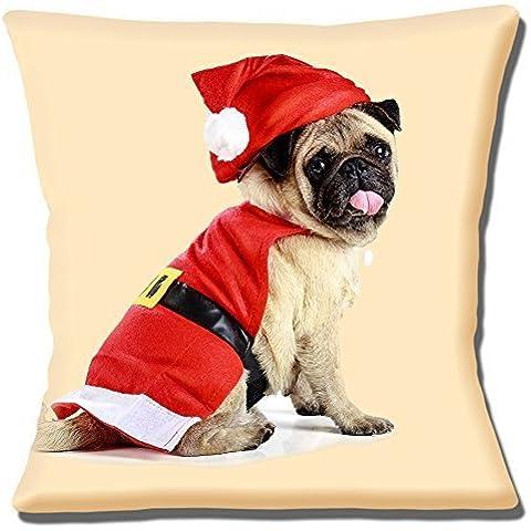 Divertido Lindo Fawn Pug Resistente Papá Noel Rojo Sombrero Abrigo Navidad Foto - 40.6cm (40cm) Funda De Cojín